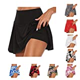 Jupes Shorts Femme Sport, Overmal 2 en 1 Grande Taille été Court Legging Ventre Plat Jupe de Badminton Shorts Amincissant Sudation Collants Skinny Elastique Moulant Yoga Pantalon