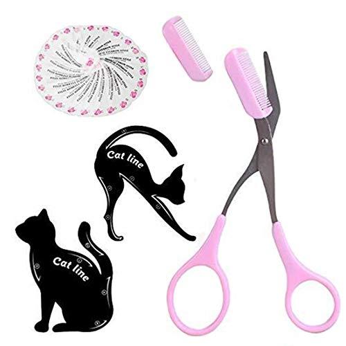 Kit de herramientas para maquillaje ojos para mujeres - Plantilla para delineador ojos de gato/Plantilla para cejas de 24 formas/Tijeras para recortar cejas con peine Herramientas para belleza