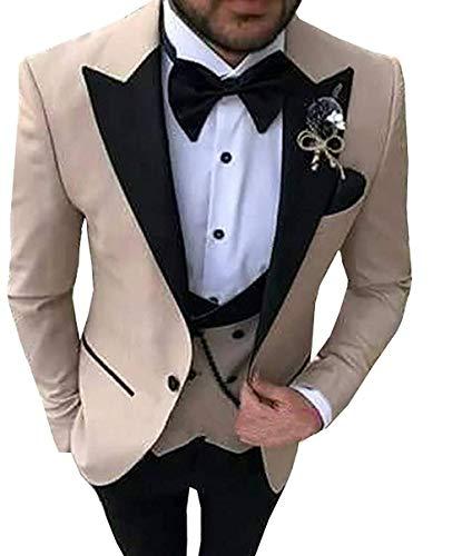 MYS Men's Custom Made Groomsman Tuxedo Burgundy Suit Black Pants Bow Tie Set Size 44R
