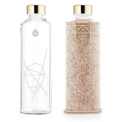 EQUA Botella de agua de vidrio – 25 onzas – a prueba de fugas y libre de BPA – de vidrio borosilicato y cubierta de fieltro para mayor protección (cokie)