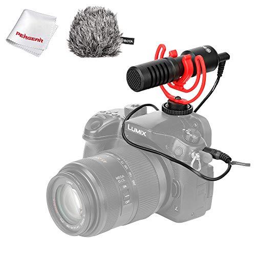 BOYA BY-MM1+ Universele Compacte Shotgun Cardioïde Richtmicrofoon met Rycote Lyre Microfoonhouder, 3,5 mm hoofdtelefoonuitgang Ondersteunt audiomonitor en afspelen, Plug and Play