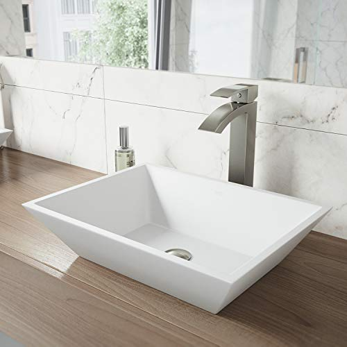 VIGO VG04007 Matte Stone Above counter Rectangular Bathroom Sink, 18.125 x 13.75 x 4.5 inches, White