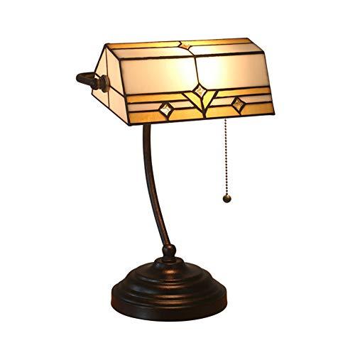 Banquier tradicional piano escritorio lámpara de mesa de 15,5' alto Outlet bronce antiguo estilo Tiffany Floral Art Glass Shade para dormitorio de noche o escritori