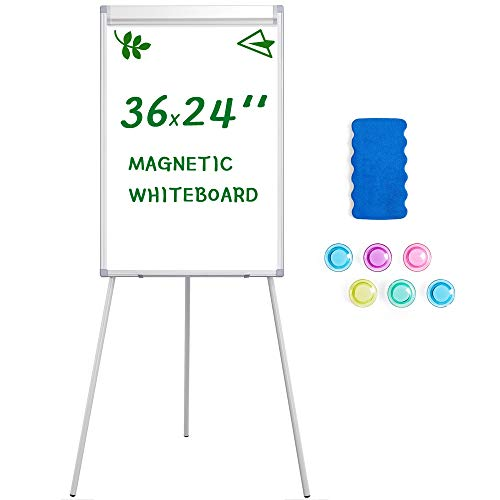 Yaheetech Easel White Boards Magnetic Tripod Whiteboard Portable Dry Erase Board 36x24 inches Flipchart Easel Board Height Adjustable, Stand White Board with Flipchart Hook for Office or Teaching