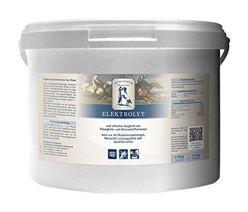 Mühldorfer Elektrolyt, 3 kg, zum Ausgleich von Elektrolytverlusten bei übermäßigem Schwitzen, getreidefrei, wirkt schnell, Ergänzungsfutter für Pferde und Ponys