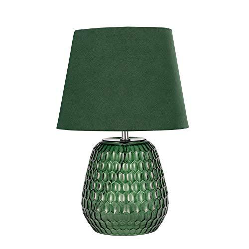 Pauleen 48157 luminaria de sobremesa Crystal Velours, Pantalla Aterciopelada, lámpara Verde, máx. 40 W E14 230 V Vidrio/Tela