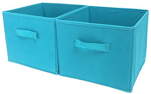 Shinetidy - Organizer per armadio a 4 ripiani, pieghevole, in tessuto set of 2 Pattumiera blu lago