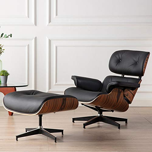 Leather Recliner with Ottoman, ToMe Mid Century Lounge Chair with Genuine...