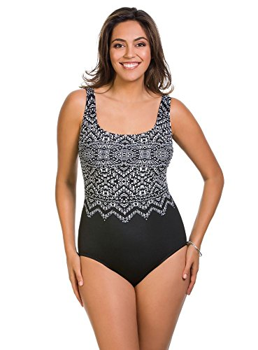 Swim Solutions Longitude Safari Night Double X-Back Slimming One Piece Swimsuit $109