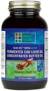 Green Pasture Blue Ice Royal Butter Oil / Fermented Cod Liver Oil Blend - CINNAMON GEL - 8.1 fl.oz