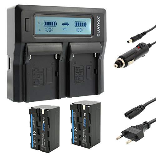 Blumax 2X Akku ersetzt Sony NP-F750 / F550 / F970 / F960-4400mAh + Doppel-Ladegerät Dual   KFZ 2 Akkus gleichzeitig Laden