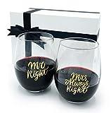 Gifffted Mr Right Und Mrs Always Right Weingläser Set für Paare, Verlobungsgeschenke für Sie,...