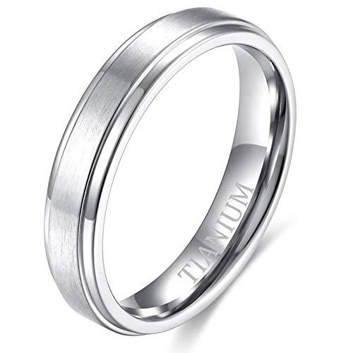 Zakk, anello da uomo e da donna, in titanio, anelli di fidanzamento, fedi nuziali, in argento spazzolato, 4 mm, 6 mm, 8 mm e Titanio, 49 (15.6), colore: Argento, 4 mm., cod. T04090S050