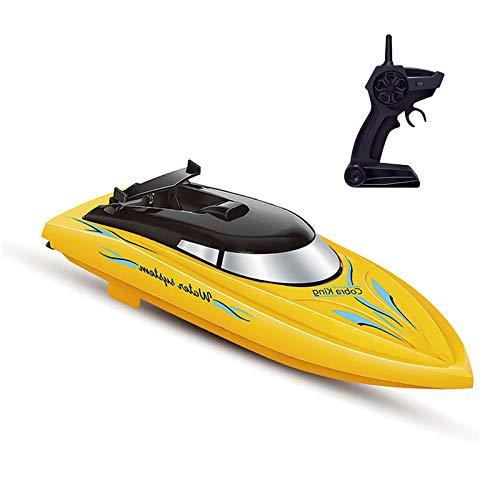 Goolsky Barco RC 10KM / H Alta Velocidad 2 Canales Barcos de Control Remoto para Piscinas Barco de Carreras para Niños Adultos (Amarillo)