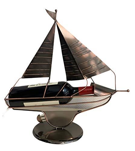 MC-Trend Weinflaschenhalter Segelboot aus hochwertigem Metall │Segelschiff │Flaschenhalter ideal als Geburtstag-Geschenk │ Skulptur │Schiff Wein