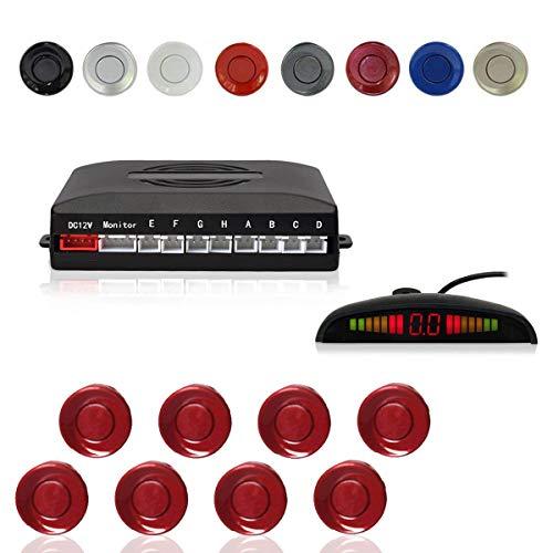 Radar Aparcamiento Sensor Sistema, Cocar Coche Aparcamiento Kit con 8 Estacionamiento Sensores + Detección de Distancia + Sonido Advertencia(Fiat Rojo Color)