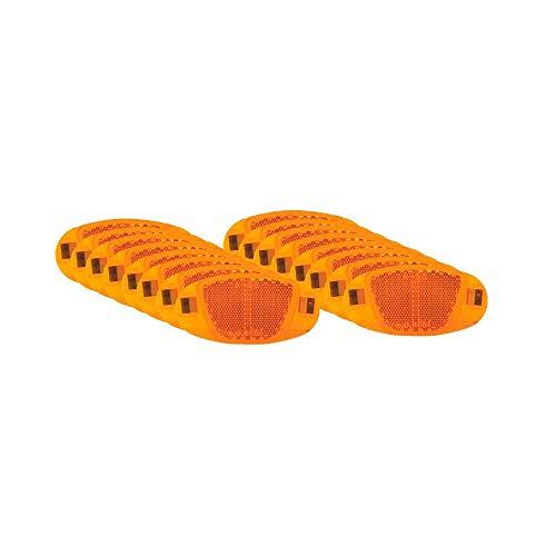 P4B | 16x Speichen Reflektoren | mit Nirosta Klammern | mit starker Reflektionsfunktion und Sichtbarkeit für hohe Sicherheit | StVZO zugelassen | Katzenaugen - Reflektoren | in Orange