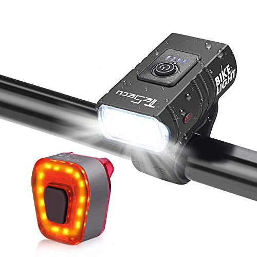 TESECU Kit Éclairage Vélo, Ensemble Lampe Velo Rechargeable USB Très Lumineux avec 2 LEDs, Phare de Vélo et Feu Arrière, Faisceau Antireflet Lumière Vélo pour Cyclysme VTT, VTC, Bicyclette etc