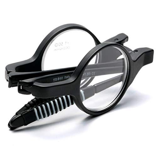 Klassieke retro leesbril met rond montuur voor mannen en vrouwen ultralichte draagbare HD-retro klapbril – TR90 hoogwaardige antislipvoeten met volledig frame