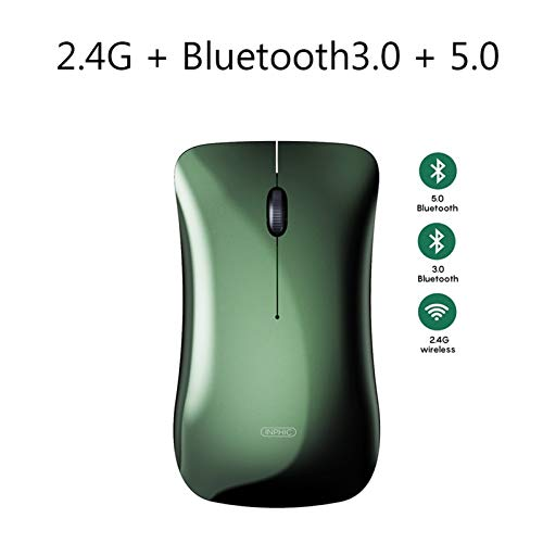 Wireless Mouse Bluetooth Mouse Rechargeable Mouse Computer Silent Mouse Ergonomic Mini USB Optical Mice For Macbook PC Laptop (Color : Bluetooth Green)