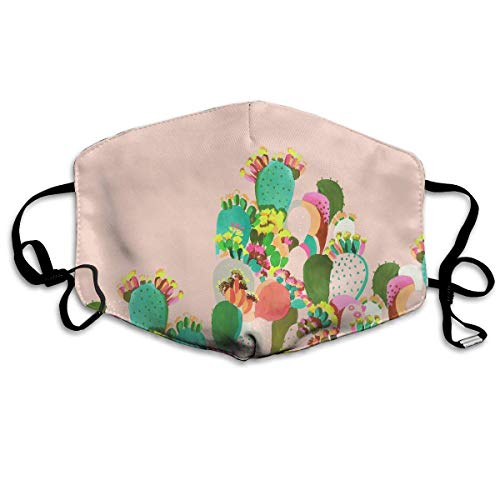 Unisex Print Mond Masker - Metalen Instrumenten Insect Modelleren Polyester Anti-Stof/Mond-Muffle - Mode Gewassen Herbruikbare Gezichtsmaskers voor Outdoor Fietsen Eén maat Schattige Cactus Cartoon Illustratie