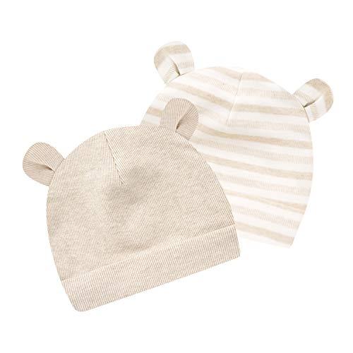 Newborn Hats Cotton Baby Beanie Hats for 0-6 Months Boys Girls Hospital Infant Bear Ears Cap 2 Pack