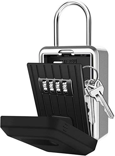 Key Lock Box with 4-Digit Combination, Lock Box for House Key, Wall Mounted Weatherproof Resettable Portable Lock Box, Ideal for Homes Hotels Schools...