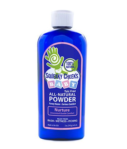Squeaky Cheeks Baby Powder (5oz) | Organic | Unscented Talc-Free and All Natural Powder | Effective Relief from Rash Wetness and Itching | Also Ideal for Adults