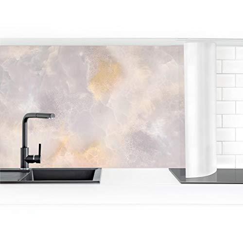 Bilderwelten Küchenrückwand Folie hochglänzend Onyx Marmor Grau 70 x 350 cm Premium