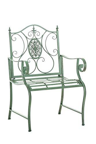 CLP Lackierter Eisen-Gartenstuhl Punjab mit Armlehne I Outdoor-Stuhl im Landhausstil I erhältlich, Farbe:antik-grün
