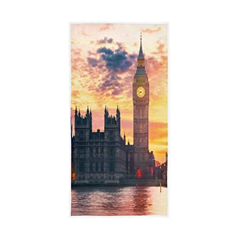 PIXIUXIU - Toallas de mano de secado rápido Big Ben London Sunset absorbentes, suaves, gruesas, absorbentes, para uso diario, 76 x 15 pulgadas