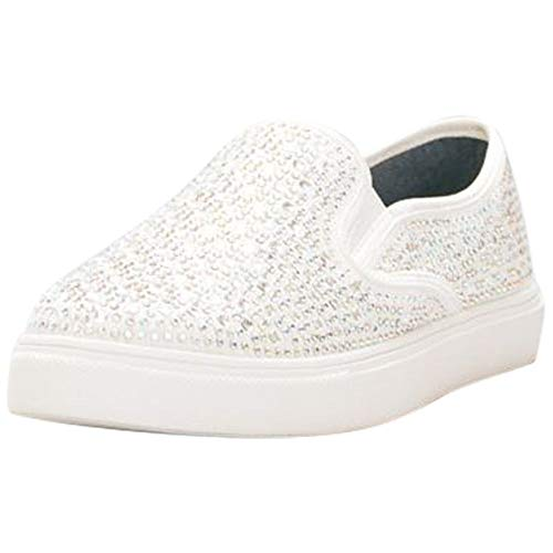 David's Bridal Crystal-Studded Slip-On Sneakers Style Cruz, White, 8