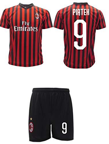 Completo Piatek Milan Ufficiale 2019 2020 AC Adulto Bambino Krzysztof Numero 9 Maglia + Pantaloncini Ufficiali (XL Adulto)