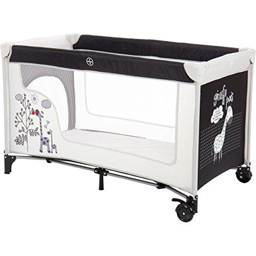 Reisebett/Babyreisebett GIRAFFE mit Rollen und Schlupfloch (Inklusive Matratze & Transporttasche) 120 x 60 cm von 0 – 5 Jahren - 3