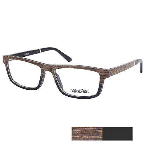 KobelFein. Brillengestelle Holz-Brille Herren Damen inkl. Brillenetui Bambus (Braun/schwarz)