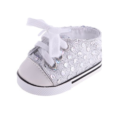 MagiDeal 1 Par Zapatos Zapatillas de Deporte para 18inch Muñecas Americanas Muchacha - Blanco
