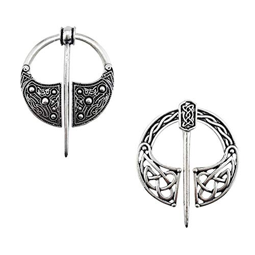 LAXPICOL 2PCS Silver Tone Viking Celtic Totem Sweater pin scarf pin Brooch Pin For Women Girls