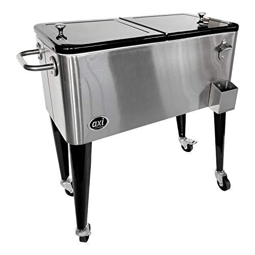 AXI Retro Getränkekühler Edelstahl | Kühlwagen / Kühler mit Rollen - 76 Liter | Fahrbare Kühlbox für den Garten / Outdoor
