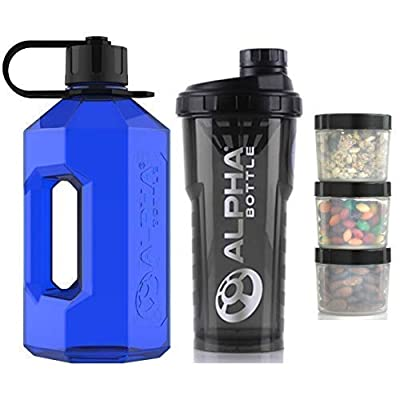 Alpha Bottle 2 Litre XXL Water Bottle Jug + 1 Litre Protein BCAA Shaker + Supplement Storage Pods (Pack of 3) (Solid Blue/Smoked Black) from Limitless Home