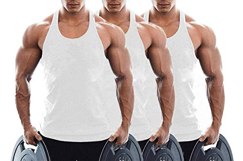 TX Apparel Canotta da Uomo Fitness Stringer Gym Shirt Cotone WT+WT+WT M