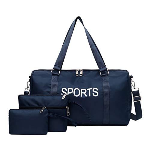 Sporttasche Set 3pc, Seesack/Reisetasche, Kinder Badetasche Gym Tasche Herren schwimmtasche Schultertaschen Reisetasche Jungen Urlaubstasche klein Fitnesstasche groß (46 * 15 * 26cm, 1 Blau)