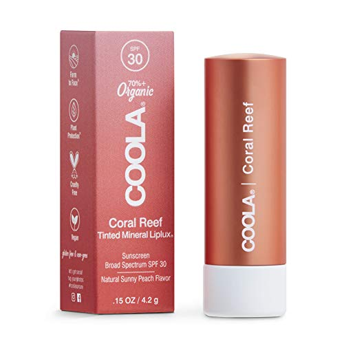 COOLA Organic Mineral Sunscreen Tinted Lip Balm, Lip Care for Daily Protection, Broad Spectrum SPF 30, Reef Safe, Coral Reef, 0.15 Oz