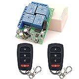 Interruptor de mando a distancia universal, receptor de relé RF AC 220 V/230 V/240 V 10 A 4 CH 433 MHz con 2 transmisores para motor, puerta de garaje, luz, cortina eléctrica, interruptor de bricolaje