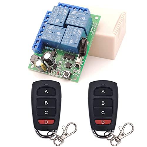 Interruptor de mando a distancia universal, receptor de relé RF AC 220 V/230 V/240 V 10 A 4 CH 433 MHz con 2 transmisores para motor, puerta de garaje, luz, cortina eléctrica, interruptor de b
