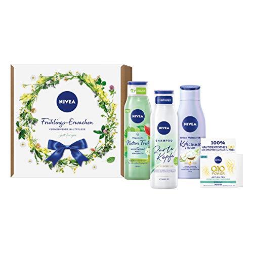 NIVEA Frühlings-Erwachen Geschenkset, verwöhnendes und vitalisierendes Pflegeset, Beauty-Set mit Pflegedusche, Shampoo, Q10 Tagespflege und Lotion