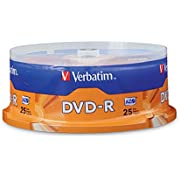 Verbatim 4.7GB up to 16x Branded Recordable Disc DVD-R (25-Disc Spindle) 95058, Silver