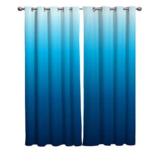 Gardinen Vorhang Blickdicht mit Ösen 2er Set 75x166cm Blauer Farbverlauf Polyester Gardine Verdunklungsvorhänge Thermovorhang lichtdicht für Wohnzimmer Kinderzimmer