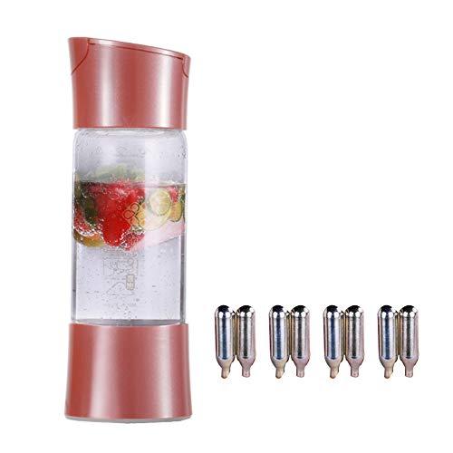 iLH Mobiler Sprudelwasserbereiter Für Die Individuelle Zugabe Von Kohlensäure in Leitungswasser Mit 8 Standard-CO2-Flaschen, 500 Ml,Rosa
