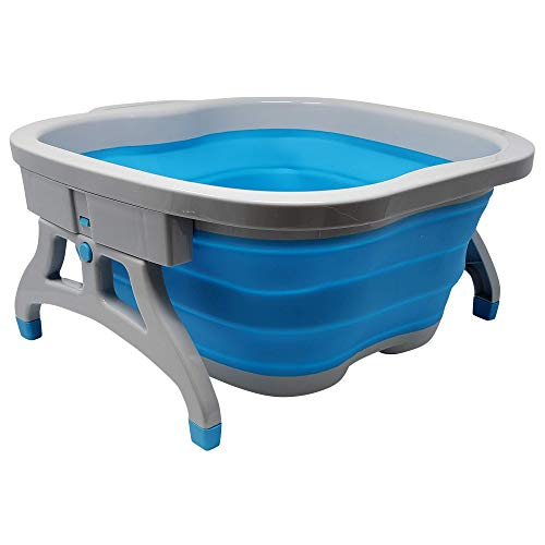 Lee Beauty Professional Large Foot Soaking Tub, Plastic and Rubber Bucket for Home Spa, Blue