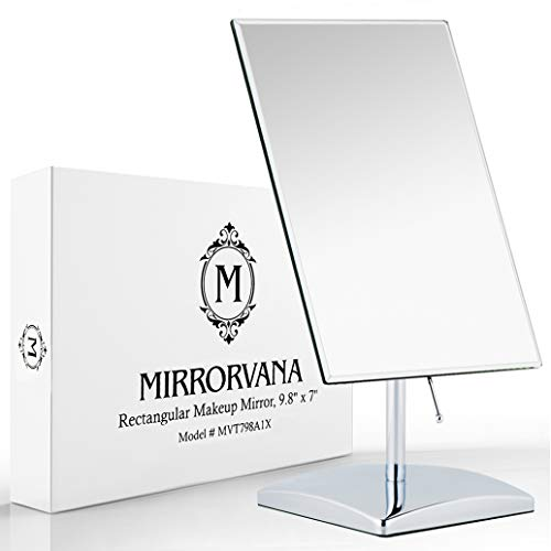 Premium Rectangular Vanity Table Mirror with Stand in Gift Box, Frameless Beveled Design, Non-Magnifying 9.8' x 7' Viewing Surface, Chrome Finish